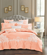 Embroidered Orange Color Elegent Bedding set Egyptian Cotton Tribute silk King Queen size 4Pcs bed set Bed sheet Duvet cover set