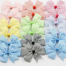 "3.2"" Plaid Ribbon Bows Tartan Hair accessories for Children Checkered pattern Baby Girls Hair clip Kid Colorful hairpin 24pc(China)"