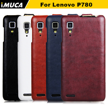 iMUCA Leather Case for Lenovo P780 P 780 Flip Case Cover Shell Mobile Phone Accessories Bag Vertical Cases Holster(China)