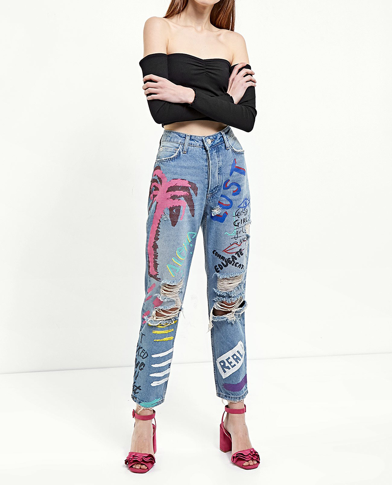 ShejoinSheenjoy Fashion Graffiti Print Jeans Woman High Waist Ripped Jeans For Women Zipper Casual Straight Denim Pants Trousers (8)