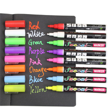 2PCS 8 Colours Highlighter Pen 3mm Liquid Chalk Fluorescent Neon Marker LED Glass board Art Marker Pens Office Supplies