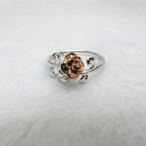 14K Gold 0.10 Ct Genuine Diamond Vine Leaf Open Ring Handmade Fine Jewelry