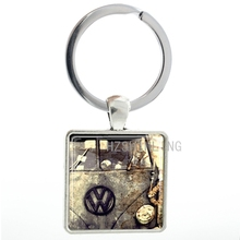 Vintage VW Volkswagon Bus men keychain jewelry antique tone VW car pture glass dome square pendant key chain ring holder  AA70