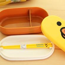 Top Quality 2 Layer Cartoon Rilakkuma Lunchbox Bento Cutlery Box Food Container Japanese Style Lunch Plastic box