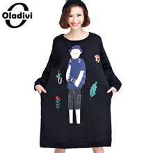 Oladivi Plus Size Women Apparel Fashion Ladies Hoodies Sweatshirt Dress 2017 Autumn Winter Printed Thicken Warm Velvet Dresses(China)