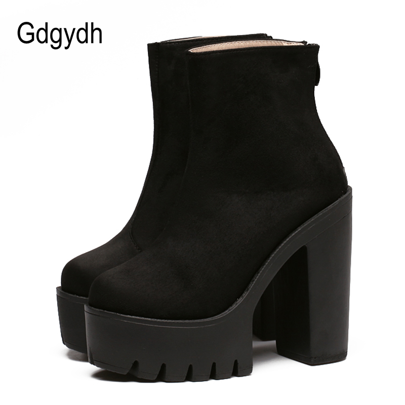 Gdgydh Fashion Boots Women Platform Shoes For Autumn Soft Leather Woman Party Shoes Ankle Boots High Heels 2018 New Black Zipper<br>