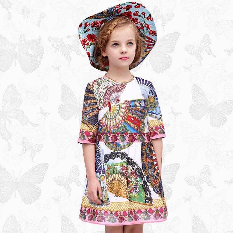 Toddler Girls Dresses Children Clothing 2017 Brand Princess Dress for Girls Clothes Fish Print Kids Beading Dress MONSOON 56<br>