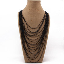 Beadsland small beads multilayer long necklace handmade crochet women fashionable necklace euramerica  hot selling jewellery