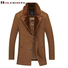 Trendy Winter Men Wool Coats Fur Collar Outwear Casual Single Button Jackets For Father Khaki Black&Gray L-3XL Holyrising