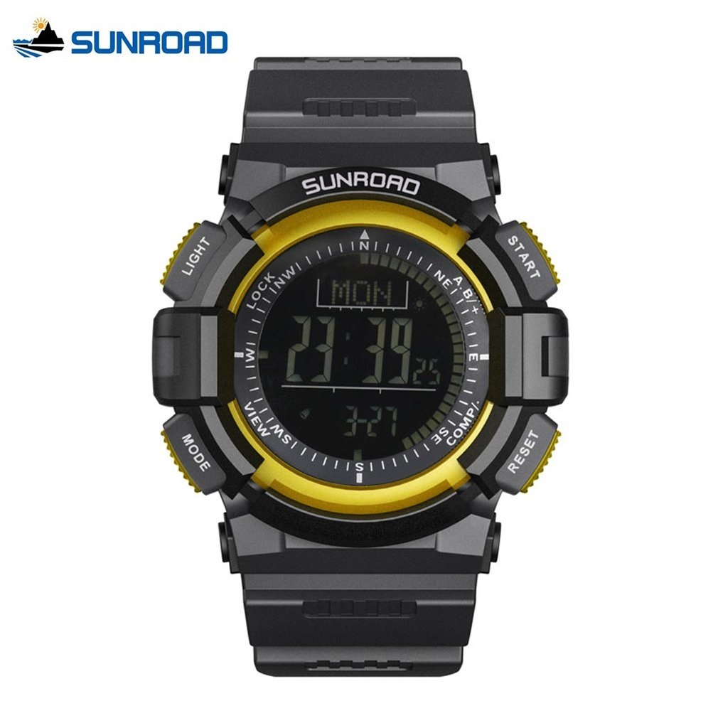 SUNROAD Multifunctional 5ATM Waterproof Mens Sports Digital Watches Rubber Compass Pedometer Electronics Watch Best Gifts<br>