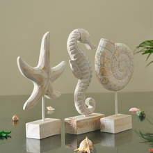 Wood Starfish Conch Hippocampus Figurines Mediterranean Style Creative Ornaments Home Decor Crafts Gifts