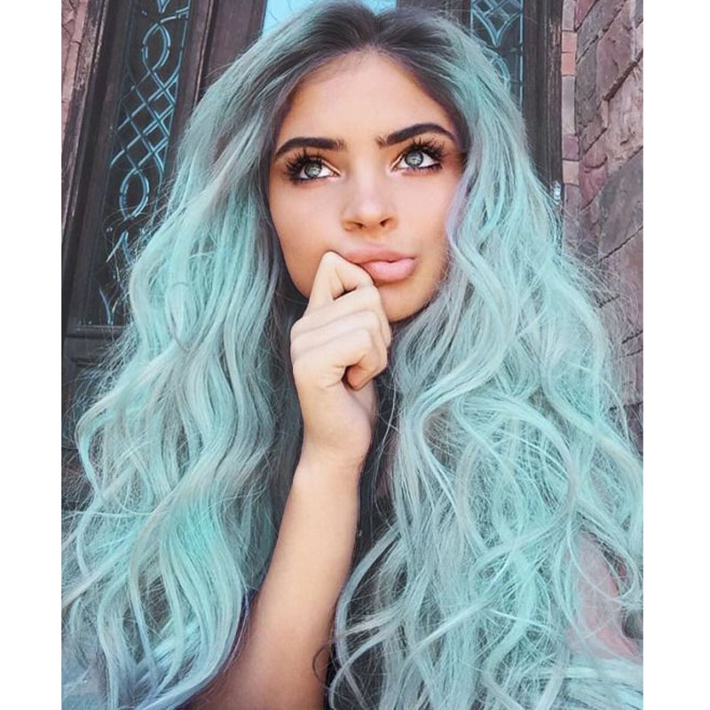 Stock Black Mint Green Lace Front Wigs Ombre Wig Black Ombre Light Green twoTone Synthetic Lace Front Wigs Heat Resistant Fiber<br><br>Aliexpress