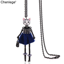 chenlege women fashion cat nacklace statement ladies charms classic animal necklace for women jewelry pendants wholesale(China)