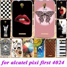 Soft Silicon TPU Phone Covers Cases For Alcatel OneTouch One Touch Pixi First OT 4024D Cases Art Paint Durable Shell back covers