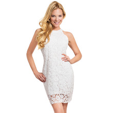 Women's Summer Sleeveless Halter Neck Lace Cocktail Party Dress Bodycon Mini Dress(China)