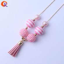 Cordial Design Fashionable Handmade DIY Jewelry Chunky Bubblegum Pink Beads Black Tassels Pendant Alloy Chain Necklace CDLN-0007(China)