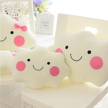 35cm Kawaii Soft Plush Smiley Face Bow Cloud Pillow 100% Cotton Stuffed Back Cushion Seat Cushion Christmas Gifts Plush Toy(China)