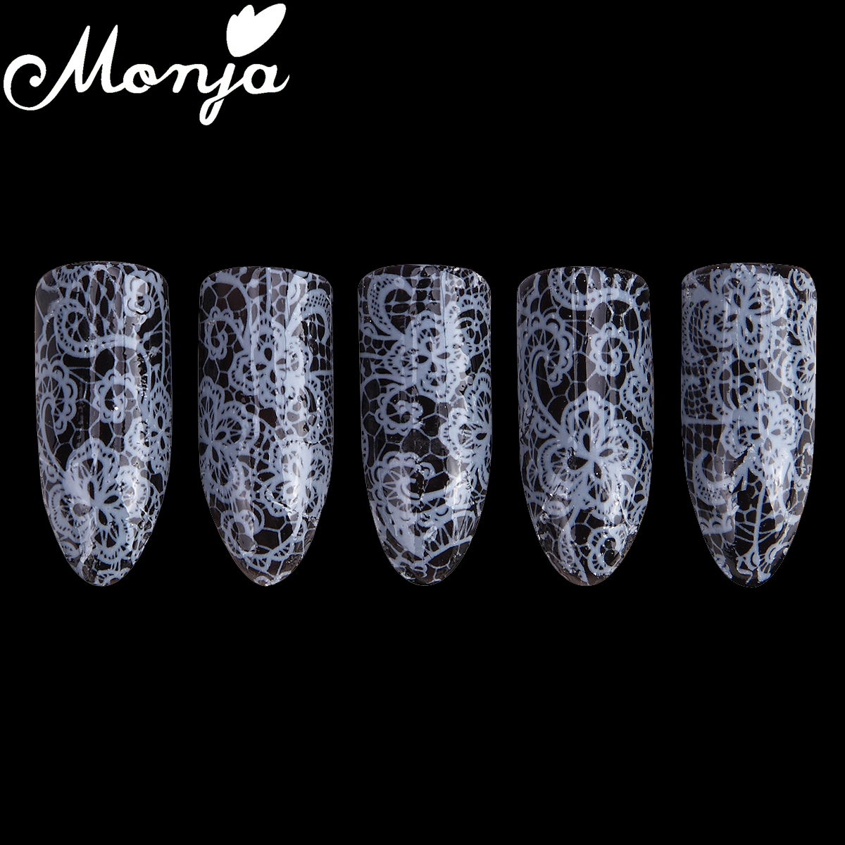 1 Roll White Nail Art Magic Flower Lace Image Starry Sky Foil Stickers Glue Transfer Fashion Decals Wraps 3D DIY Decoration 2