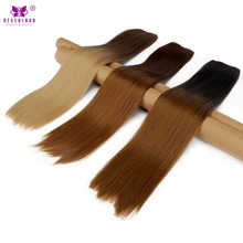 "Neverland 24"" Straight Synthetic Hair 5 Clip in Hair Extension Real Natural Wig Ombre Black Brown Two Tones Hairpieces for Women"