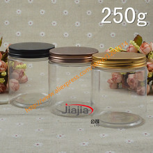 250g PET clear Cream Jar with gold/bronze/black aluminum Cap,Makeup Tool 250ml Face Mask Container,250ml food storage
