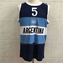 Retro MANU GINOBILI TEAM ARGENTINA JERSEY NAVY BLUE SEWN NEW ANY SIZE(China)