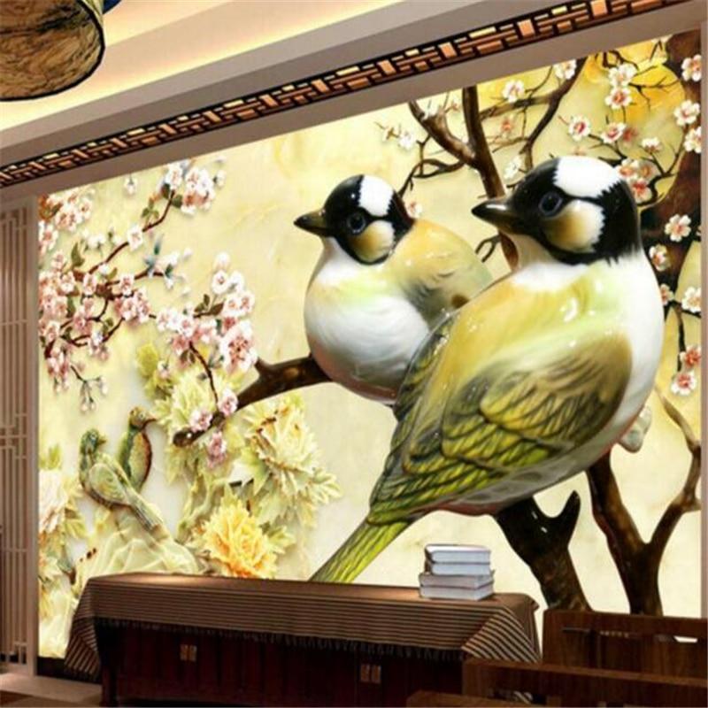 papel de parede Home Decoration Any Size Wallpaper 3D Living Room Large Wallpaper Stone Carving Bird Plum Art Mural 3d wallpaper<br><br>Aliexpress