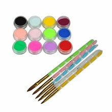 2016 Hot Sale New 5PCS 2-Ways Acrylic Nail Art Brush Pen Nail Art Tools 12 Colored Nail Art Acrylic Dust Powder Set Decoration