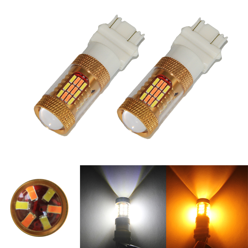 2PCS 3157 P27/5W T25 4014 54SMD Amber/White Switch back LED Bulbs SMD t25 DRL Turn Signal Tail Brake Stop Light 12V Dual Color<br><br>Aliexpress