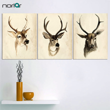 Home Decor Large Canvas Art Vintage Elk Paintings Wall Pictures For Living Room Minimalist Decorative Panel To Room (No Frame)