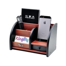 Fantastic Wooden High-grade multifunctional Desk Stationery Organizer Storage Box Pen Pencil Box Holder Brown with Drawer(China)