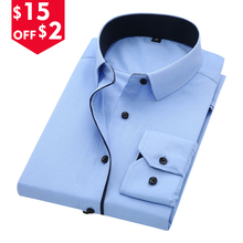 DAVYDAISY High Quality Men Shirt Long Sleeve Twill Solid Formal Business Shirt Brand Man Dress Shirts DS085(China)