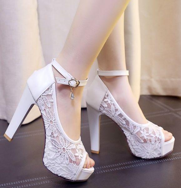 Plus size summer lace sandal pumps shoes for woman TG906 white black beige lace wedding shoes peep toes super high block heels<br>