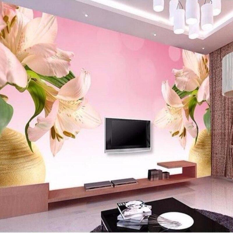 papel de parede Custom 3D stereoscopic wallpaper pink lily vase living room TV backdrop wall paper  wallpaper for walls 3d<br><br>Aliexpress