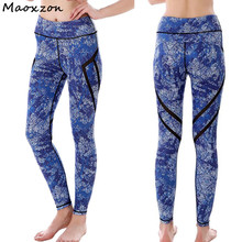 Buy Maoxzon Women's Blue Print Sexy Fitness Skinny Pants Female Mesh Patchwork Hollow Active Workout Elastic Slim Leggings for $15.68 in AliExpress store