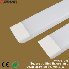 New Style! Led Clean Purification Tube Light 2ft 600mm 27W Led Flat Batten Light 3 Lines Led Tri-proof Lamp  170 Beam angle