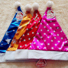 1pc Christmas Santa Claus Hats Gold Blue Fushia Caps For Adult And Children XMAS New Year's Gifts Home Party Supplies