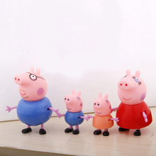 Free Shipping 4pcs/lot Hot Plastic Pig Family Set Plastic Daddy Mummy Pig party Classic Toys 5-9cm for Baby Kid Children