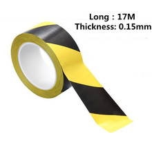 Black Yellow Safety Warning Color Tape Sticker 17M Workplace Safety Products Warning Tape
