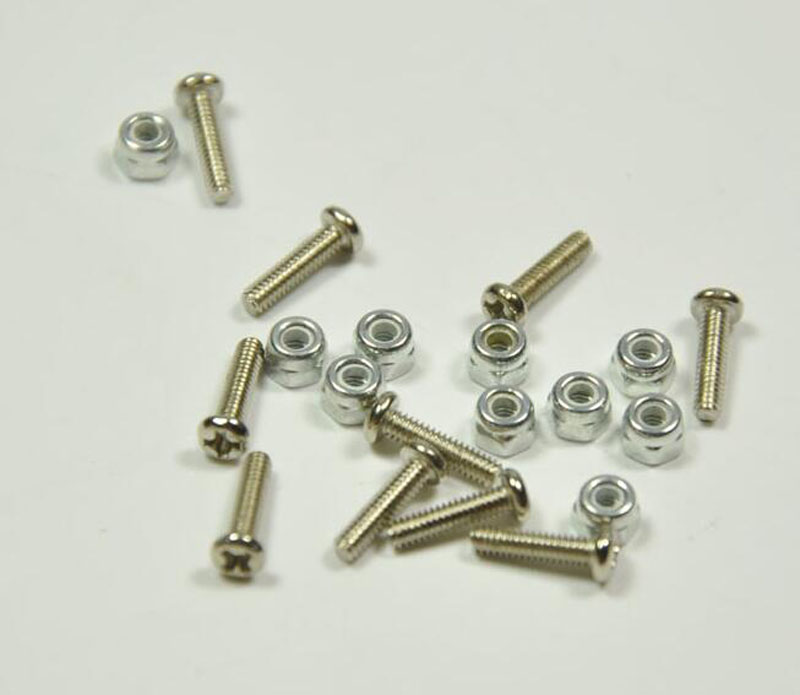 20pcs RC Model Fixwing Flight Control Round Head Machine Screw M2*8 Philip's Head Screw + Nuts Set RC Hobby Accessories M2
