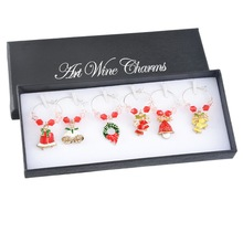 1Set/6PCs Red Enamel Charms Set Christmas Series Wine Glass Charms Set With Box For Christmas Table Decor Mixed New Year Gift(China)