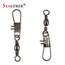 20pcs Connector Lure Seamline Character Ring Stainless Steel Fishing Supplies Small Accessories Barrel Swivel with Interlock(China)