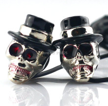 3.5 mm High Performance Metal skull earphone gold and silver Personality earphone In ear earbuds with retailbox
