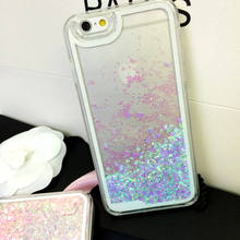 Dynamic Liquid Glitter Sand Love Heart Clear Bling Back Case Cover for iPhone 6 6s plus 5 5s Se 4 4s 7plus Cell Phone Cases