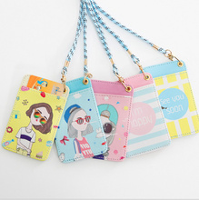 NEW Fashion Girl's PU Cards Case - 12*7.5CM Neck Hanging Cards Holder BAG , PU ID & BUS Cards Pouch Case BAG