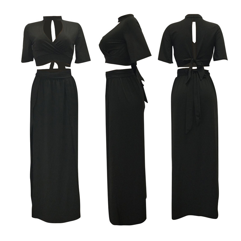 summer back bow-tie lace-up long skirt set-4