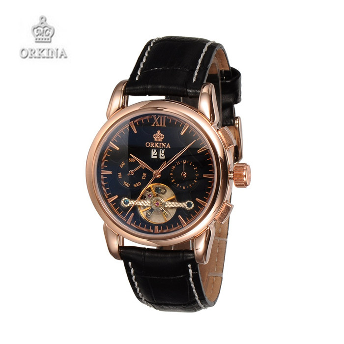 Men Luxury Brand ORKINA Automatic Mechanical Leather WristWatches Black Business Watches For Men<br><br>Aliexpress