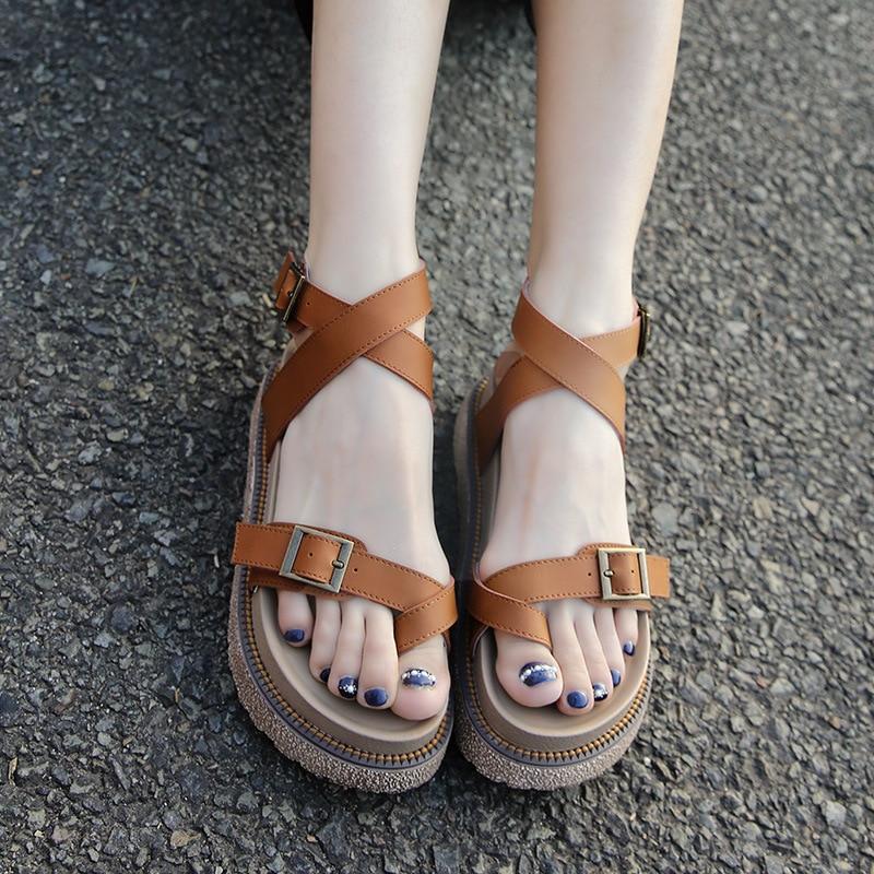 2017 summer  flat shoes strap buckle ladies women platform peep-toe leather sandals comfortable Gladiator Beach Cork plus size<br>