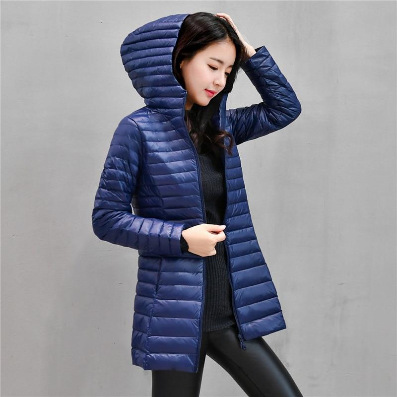 90% White Light Duck Down Coat Jackets Womens Winter Coat Parkas Female Ultra Light Down Jacket Basic Coats Hooded Long Outwear