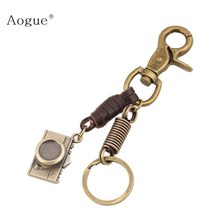 Brown Genuine Leather Key Chain With Alloy Camera Pendants Fashion Women & Men pring Key Chain(China)