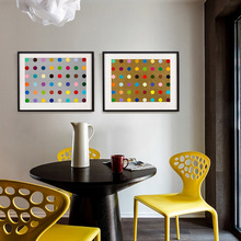 Different Colors Dots Oil Painting Blue Golden Background Picture Wall Prints for Home House Wall Boy Girls Room Decor no Frame